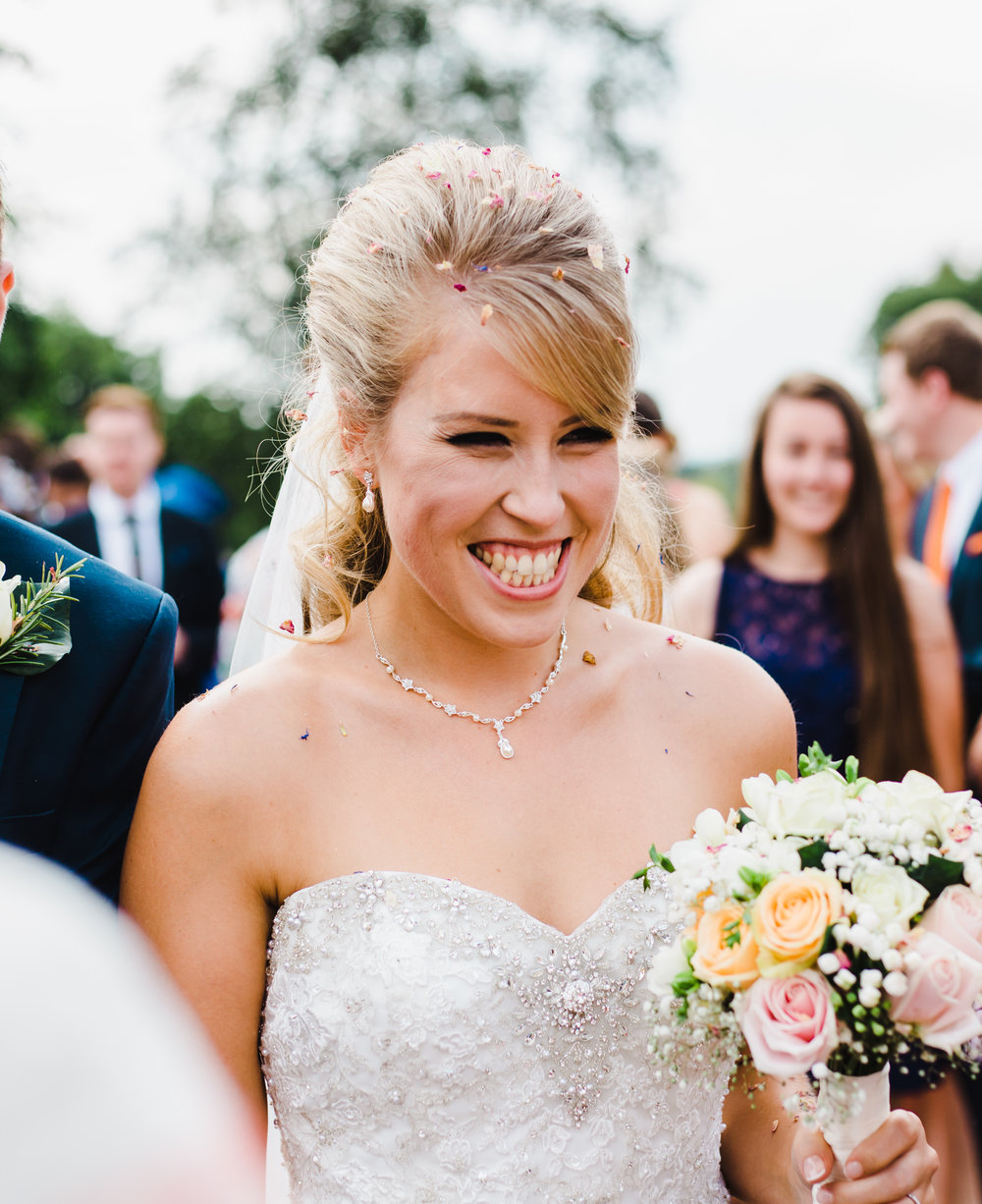 Big smiles from the bride- Barn wedding venue