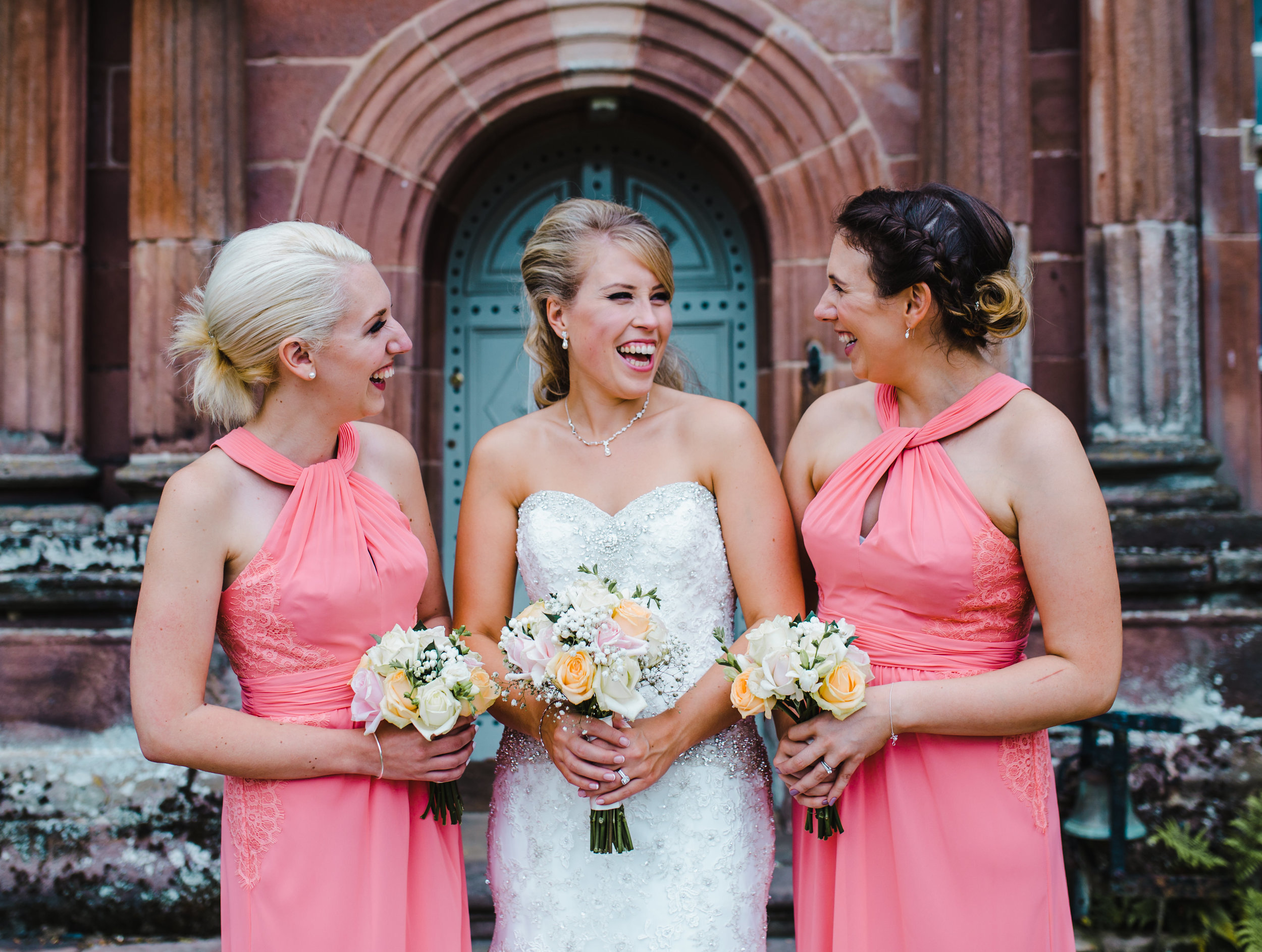relaxed wedding photography Lancashire - bride and her bridesmaids