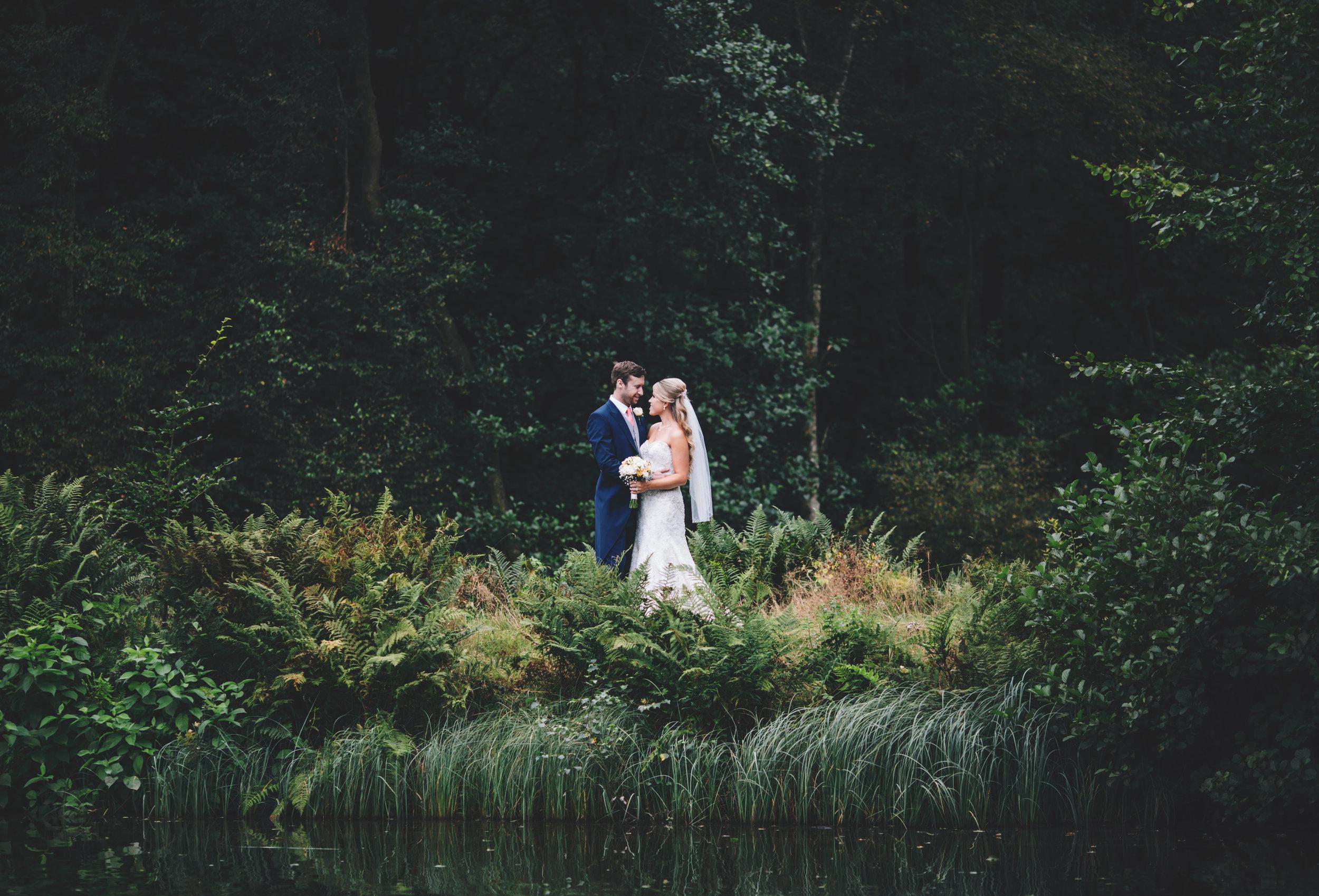 stunning lake scenery at Browsholme Hall wedding