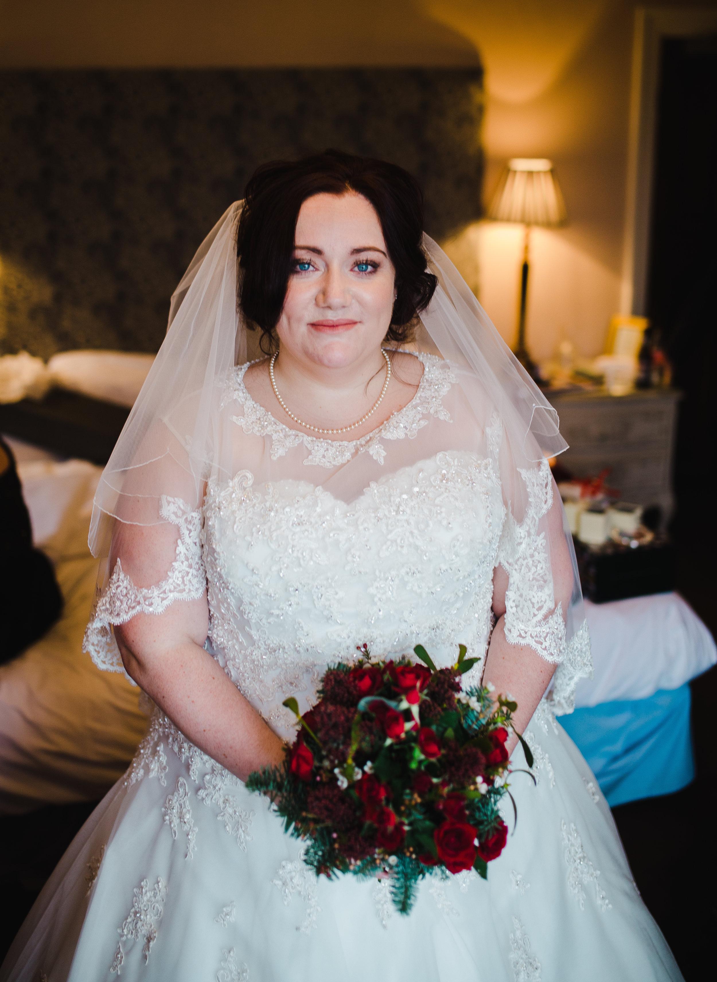 beautiful bride at lake district wedding