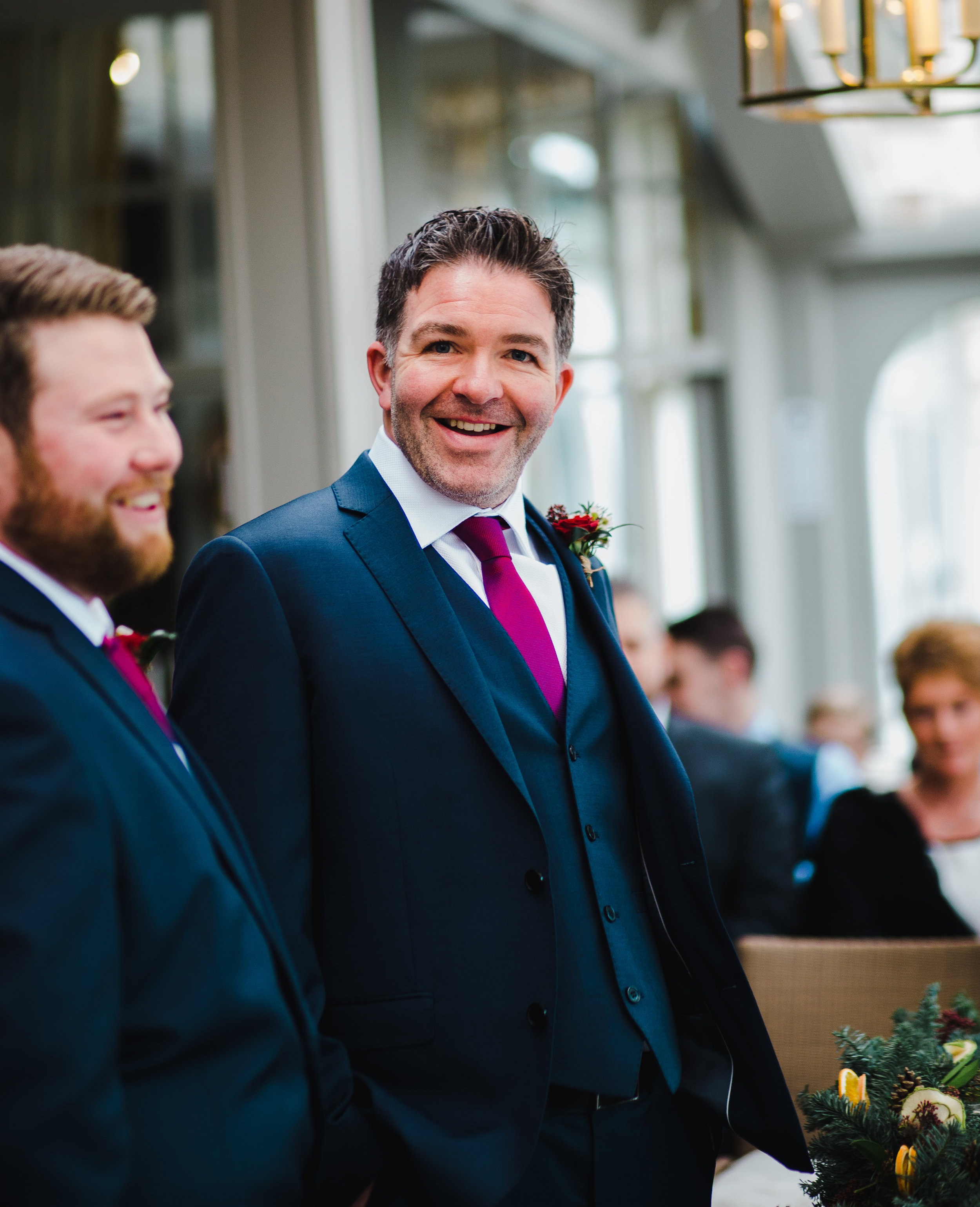 groom waits for the bride to arrive - lake district wedding photographer