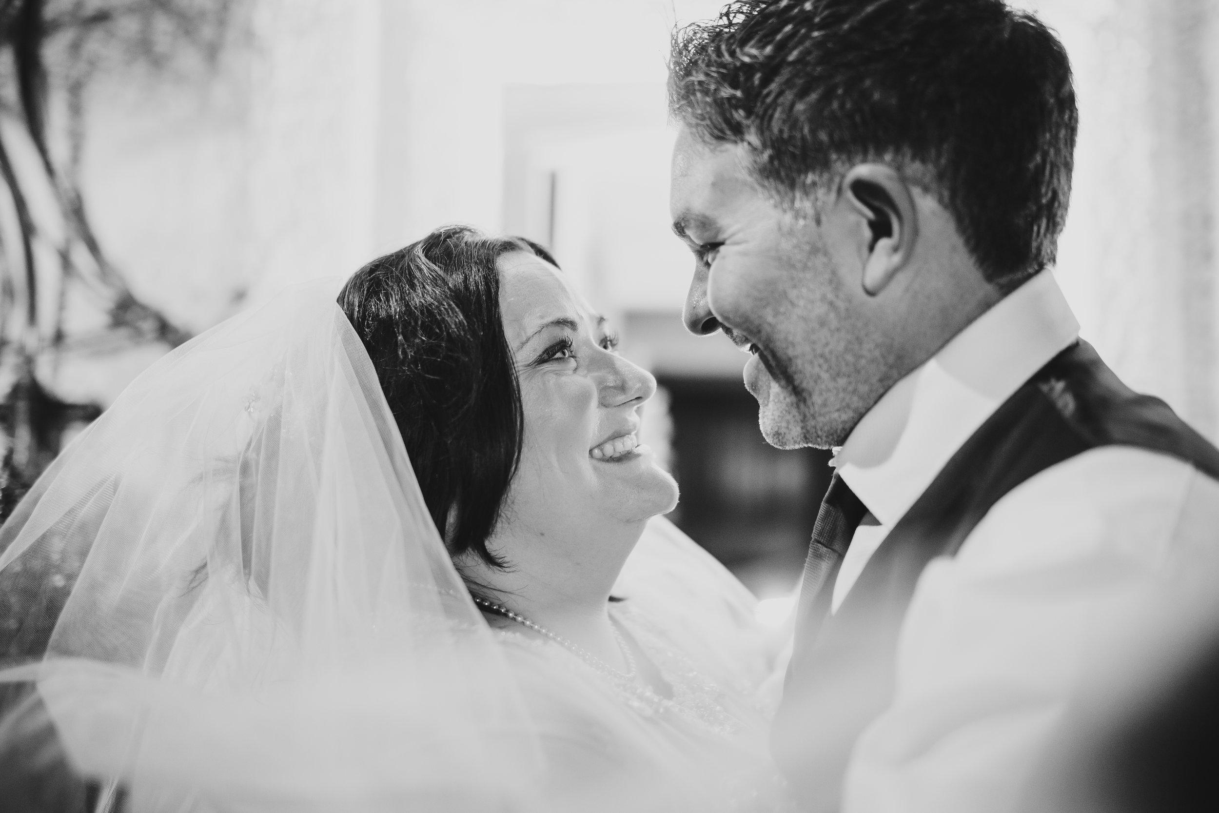 black and white portraits - lake district wedding