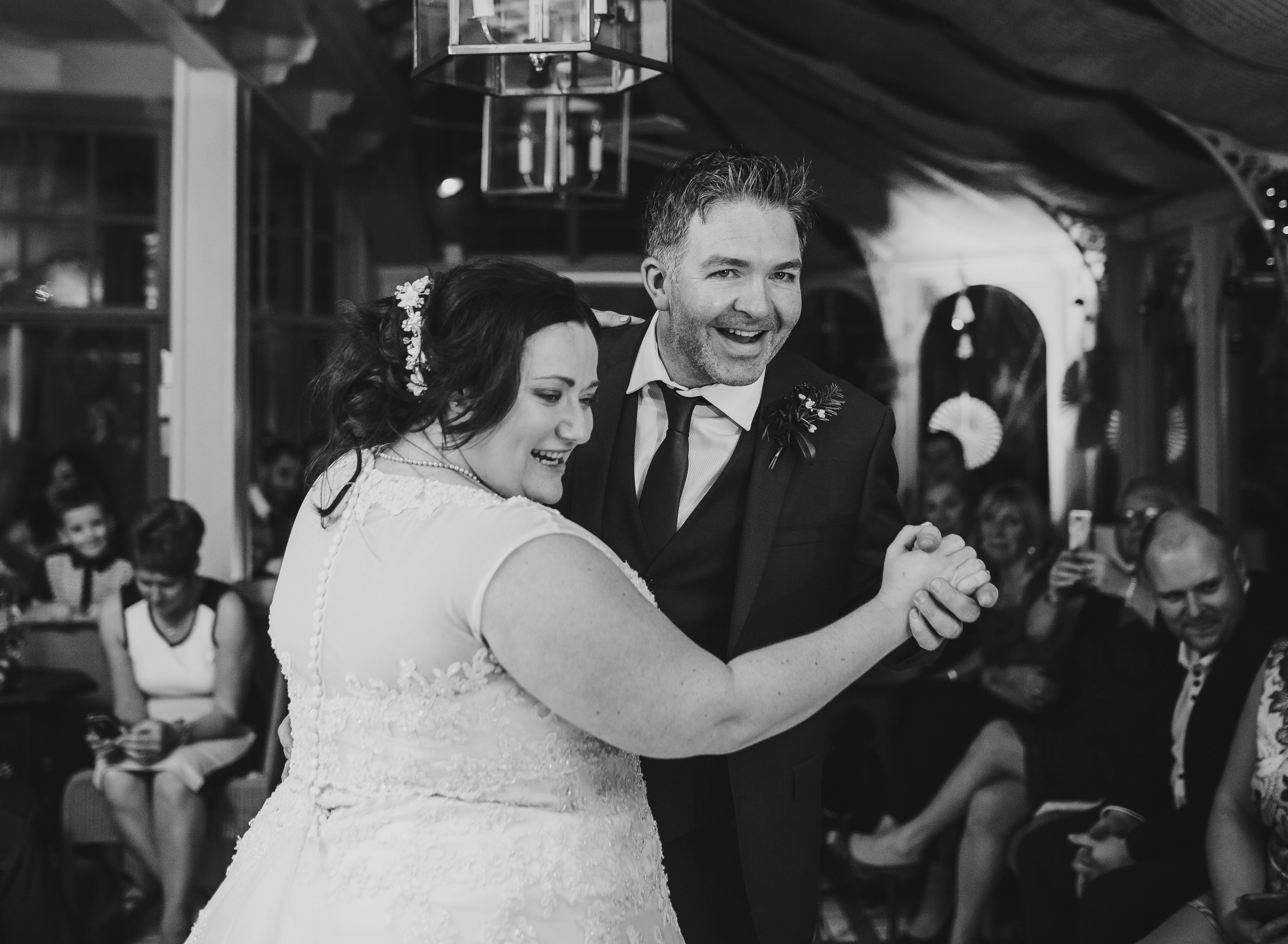 first dance - black and white lake district wedding