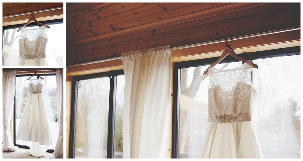 Collage of the brides dress hung above the window at Styal Lodge- Cheshire wedding photography