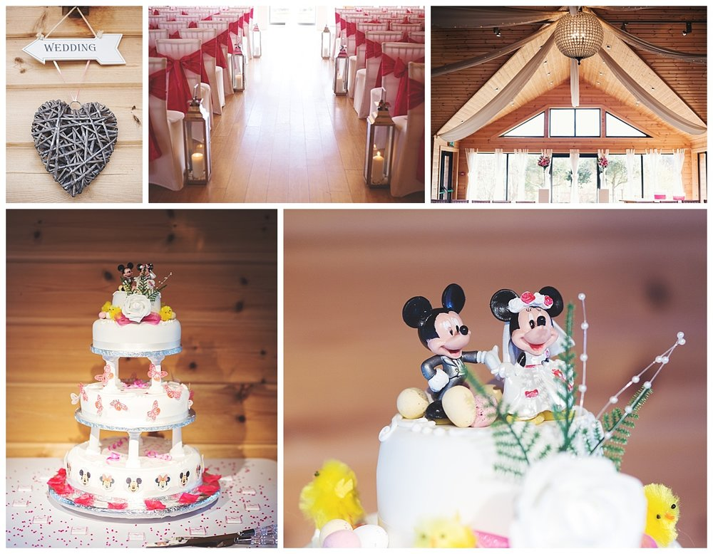 Collage of the mikey and mini mouse wedding cake with table decoration at Styal Lodge- Creative wedding photography at cheshire