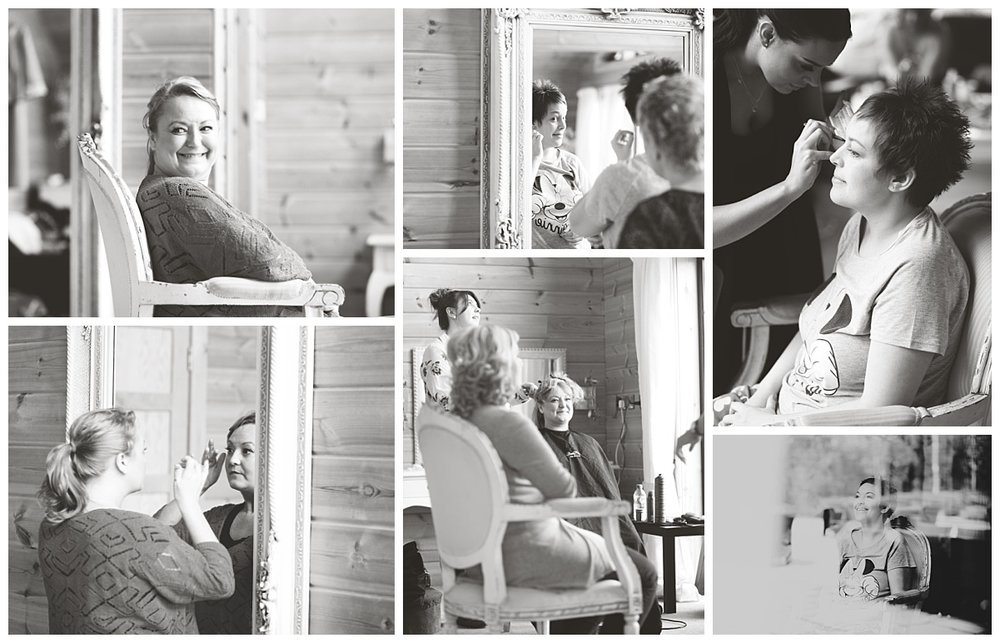 Black and white collage of the bride and bridesmaids getting ready for the cheshire wedding at Styal Lodge