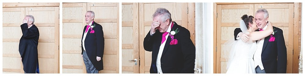 Collage of the reactions which the father of the brides shows when seeing his daughter- Cheshire wedding, documentary photography