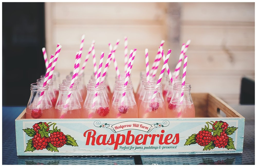 Handmade raspberry drinks for the wedding party- Creative wedding photography