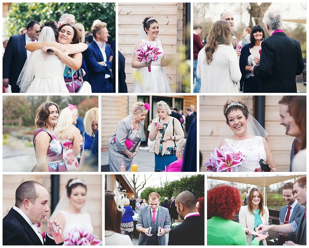 Collage of the bride and her wedding guests after the wedding ceremony- Documentary style wedding photography in cheshire
