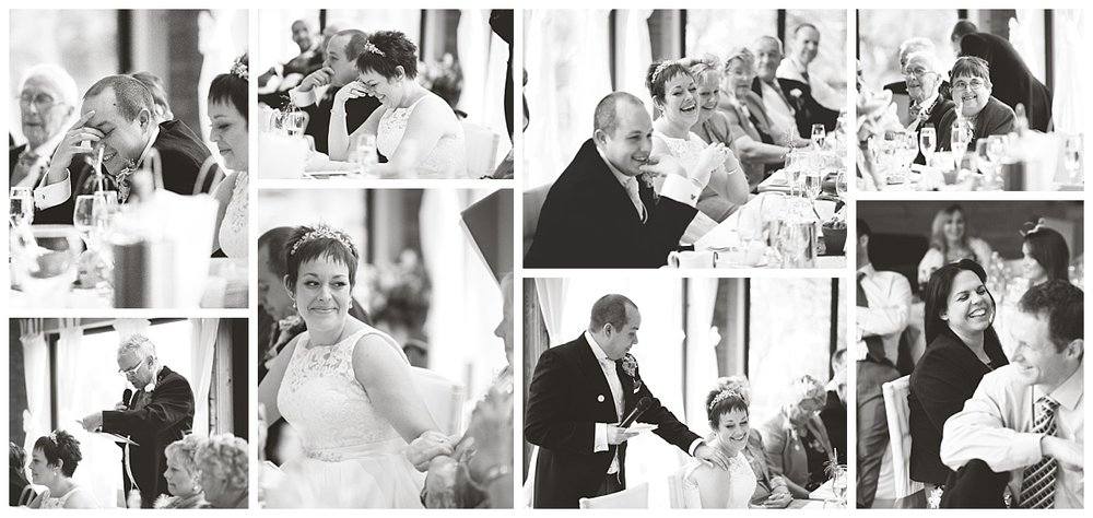 collage of the wedding speeches- Black and white creative wedding photography at styal lodge