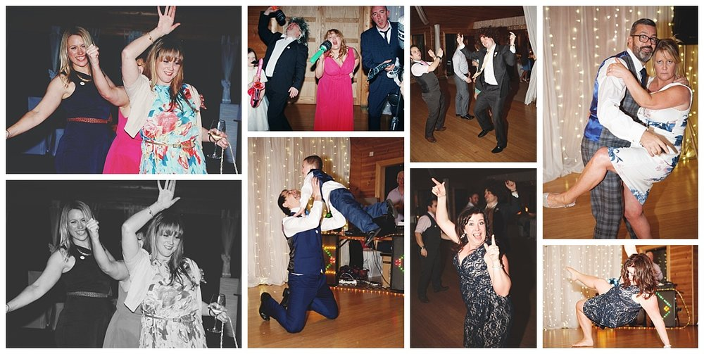 Collage of the wedding guests on the dance floor at styal lodge for a wedding- Creative wedding photography