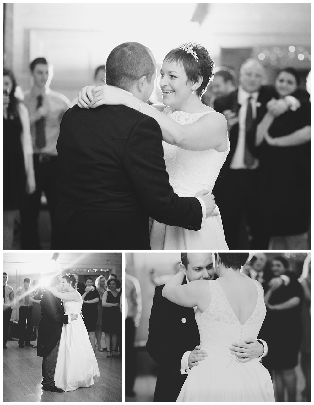 Black and white photography of the bride and grooms first dance as a married couple- styal lodge creative fun wedding photography