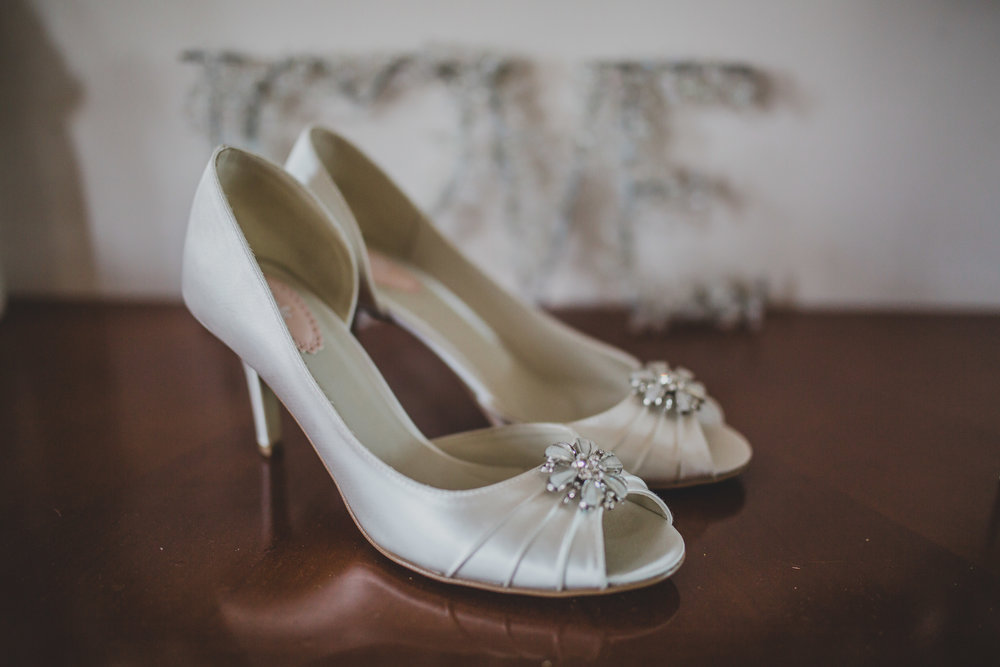Bridal shoes with silver detailing- Lancashire wedding photography
