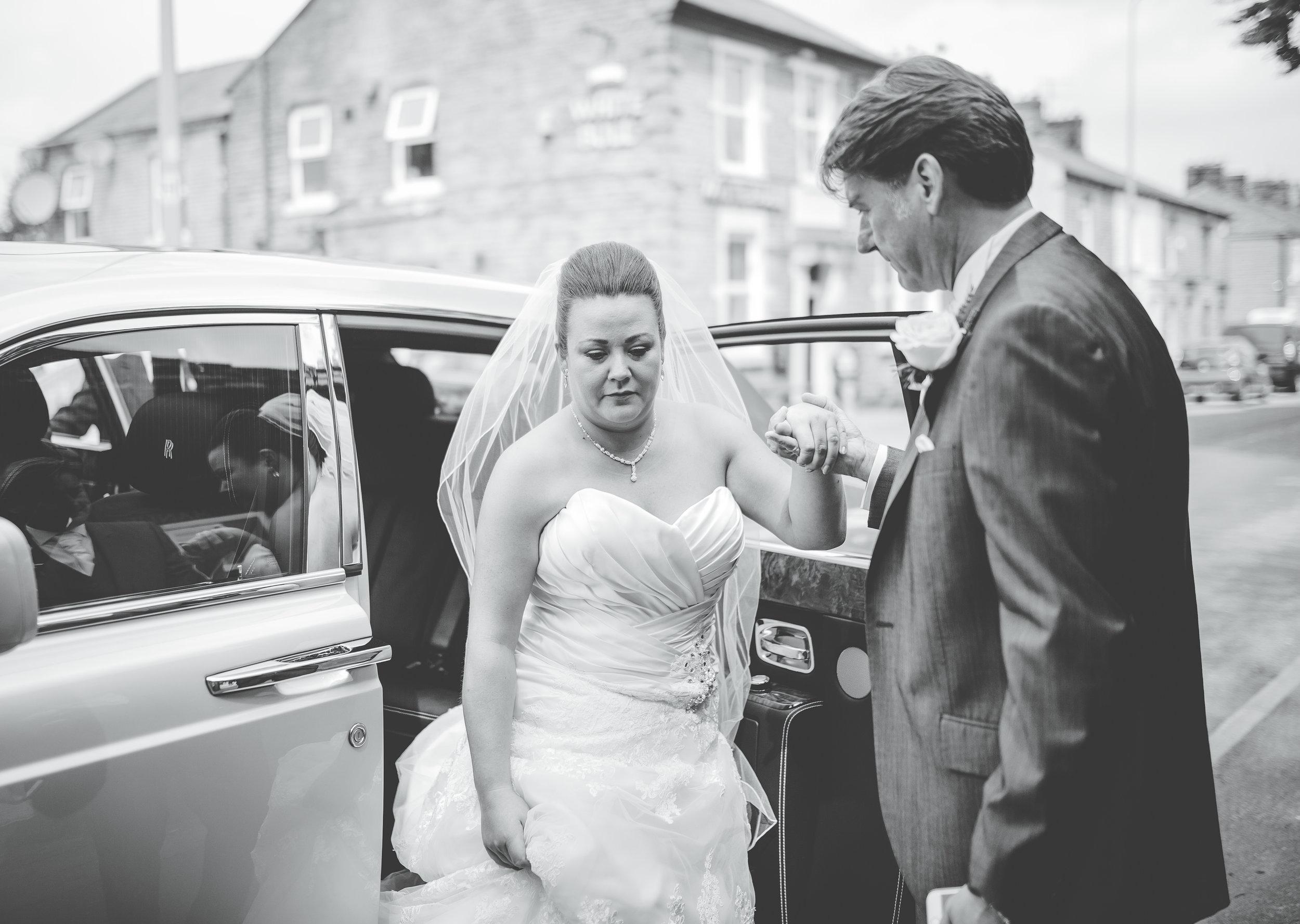 bride arrives at church - wedding photographer Lancashire