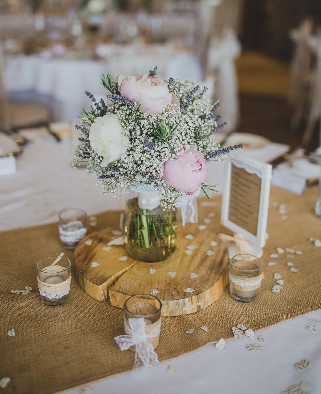 Table arrangement flowers at Beeston Manor- Preston wedding photography