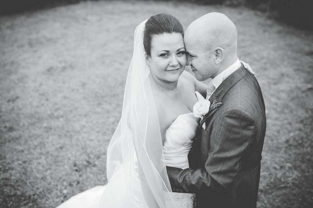The bride and groom, black and white photography in lancashire