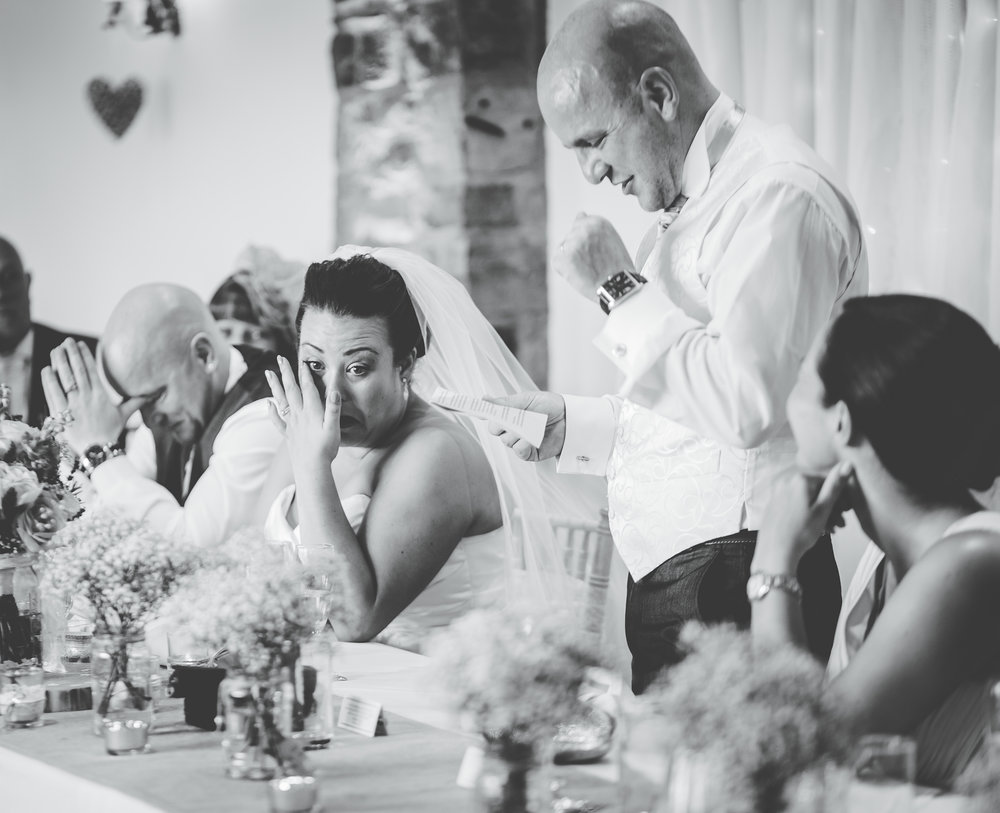 Tears from the bride as the groom says his speech- Documentary styled wedding photography in lancashire