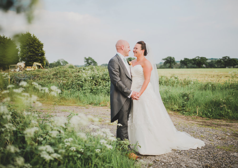 Creative photography of the bride and groom looking into one another eyes at Beeston Manor