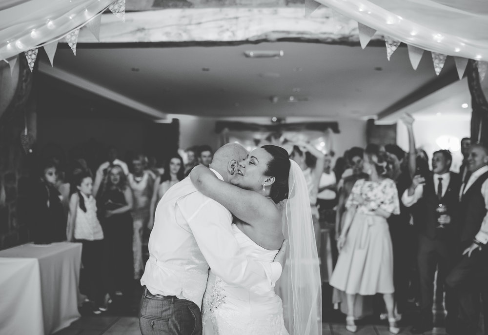 Bride and groom first dance as Mr and Mrs- Wedding venue of Beeston Manor in lancashire
