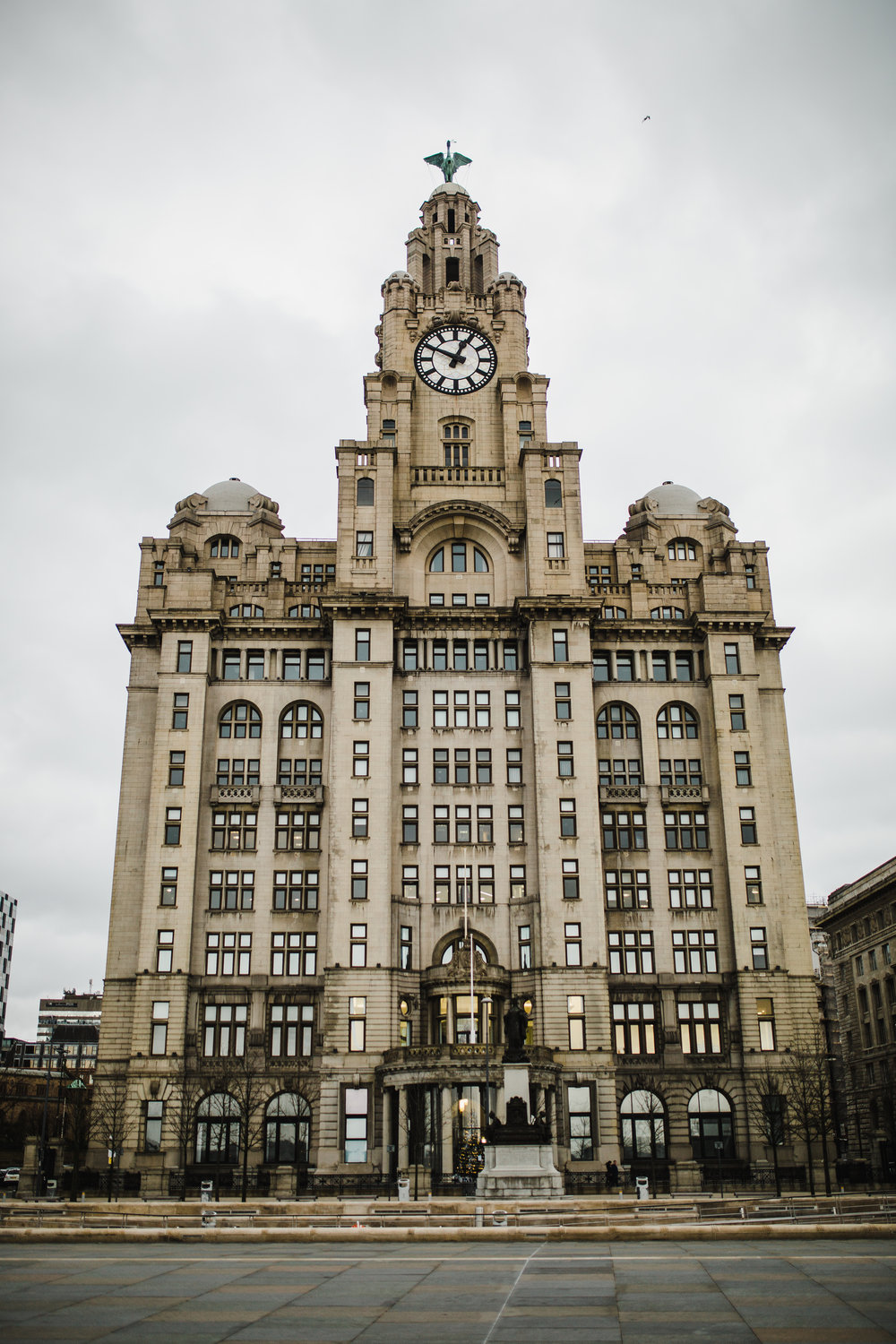 Outside of The Liver Building for a winter themed wedding