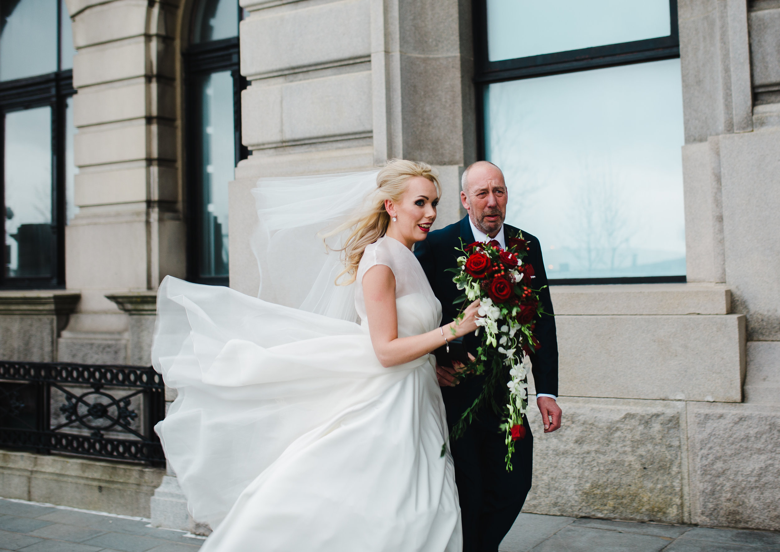 bride arrives at the Liver building