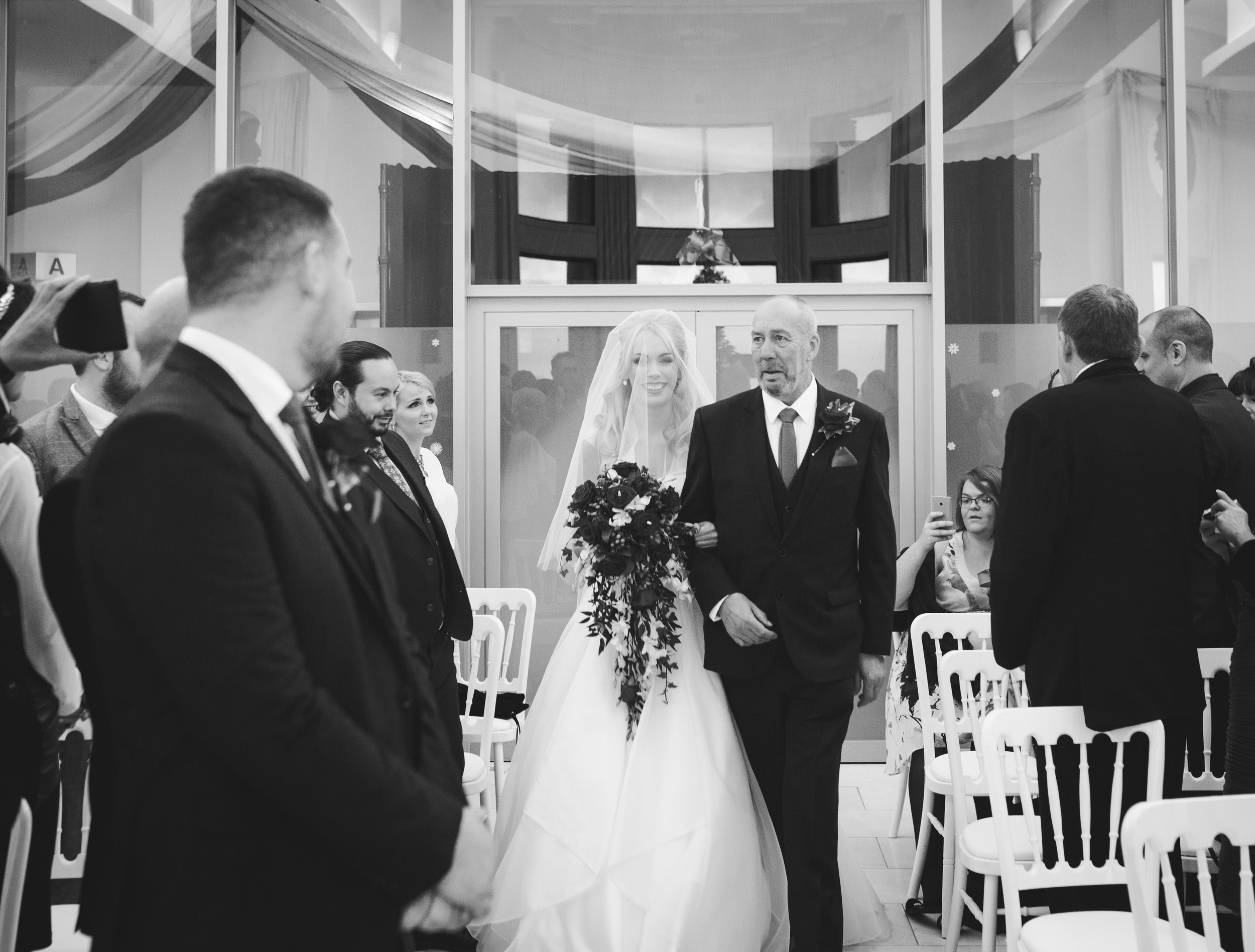 walking down the aisle at the Liver Building