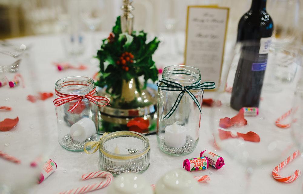 The handmade wedding table decorations- Winter themed wedding, Liverpool
