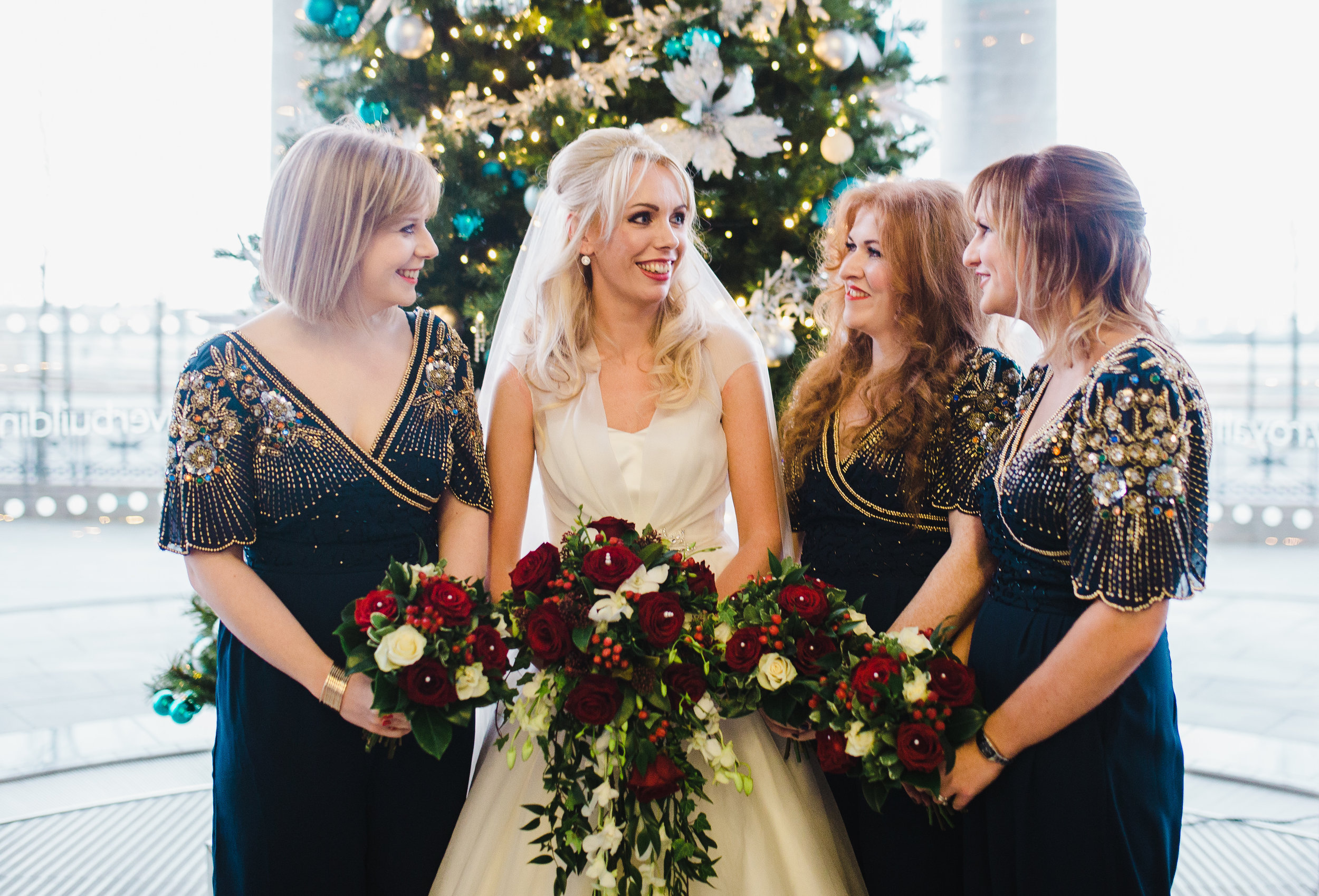 bride and bridesmaids at Liver building