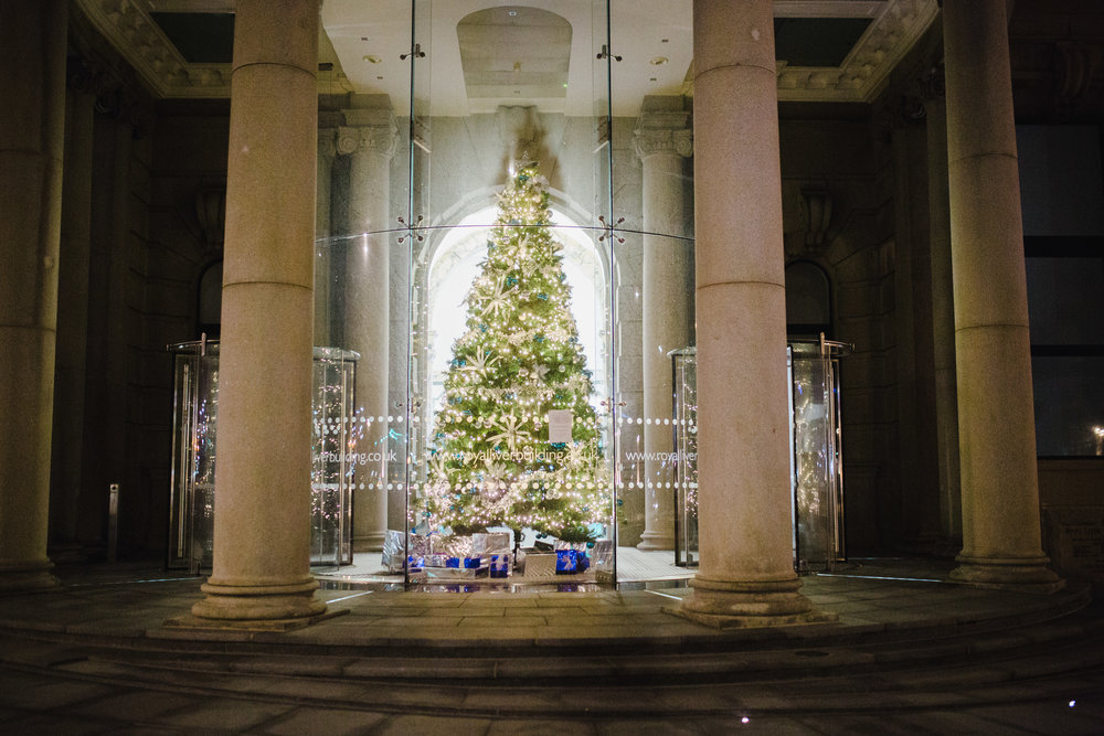 The christmas tree from the outside at the Liver building in liverpool