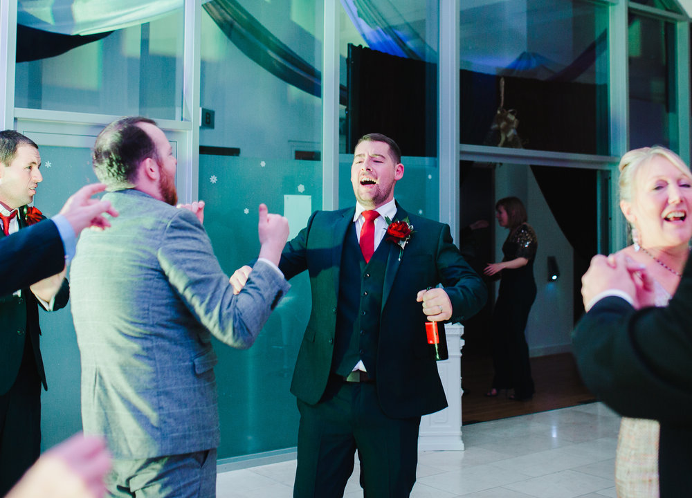 Big s,lies from the groom and wedding guests- Relaxed christmas themed wedding the north west