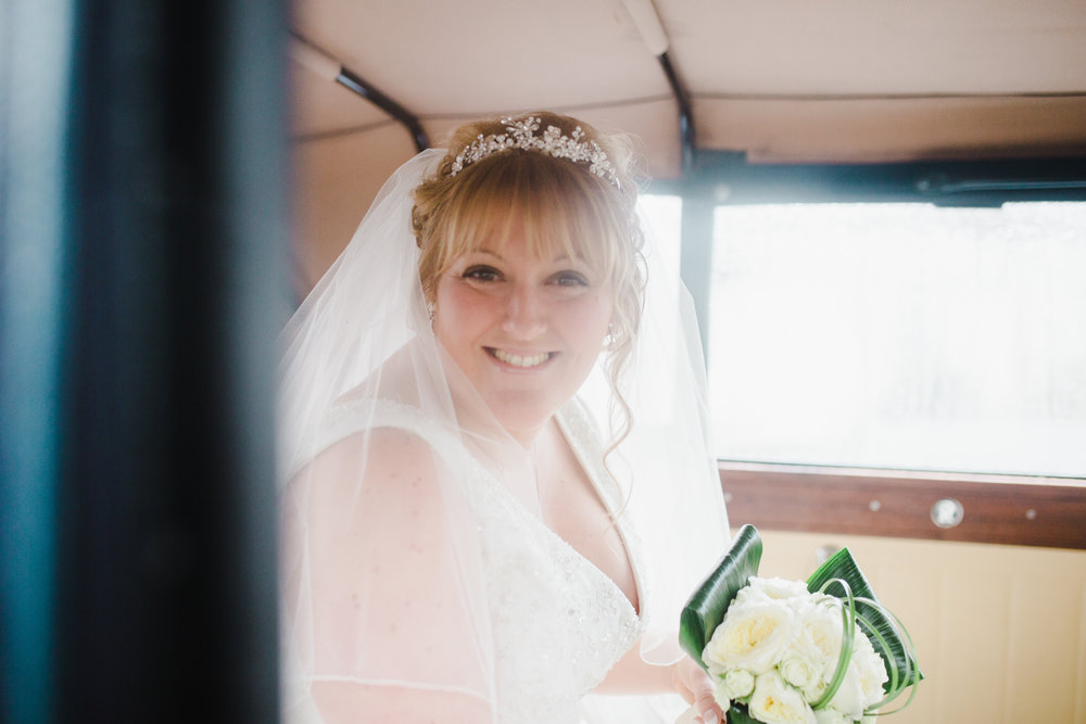 Big smiles from the bride in the wedding car-Relaxed wedding in ribble valley