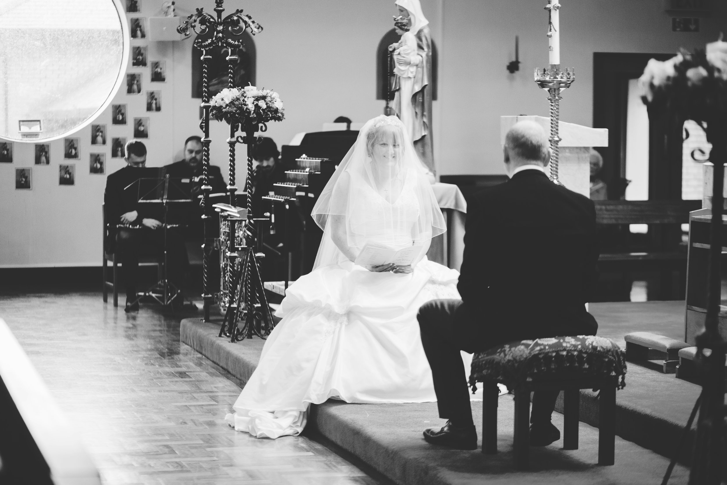 black and white wedding pictures - church ceremony