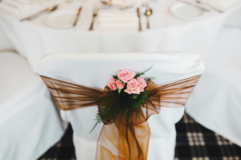 The chair ribbon decoration- Spread Eagle Wedding venue, lancashire