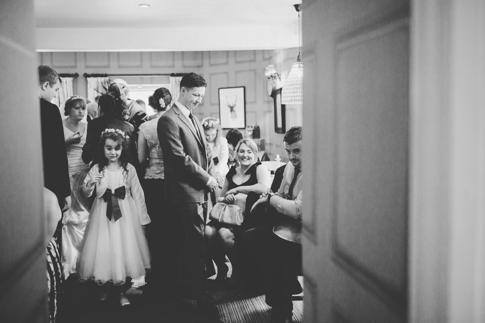 Inside photograph of the Spread Eagle during the wedding party- Black and white photograph of the lancashire wedding