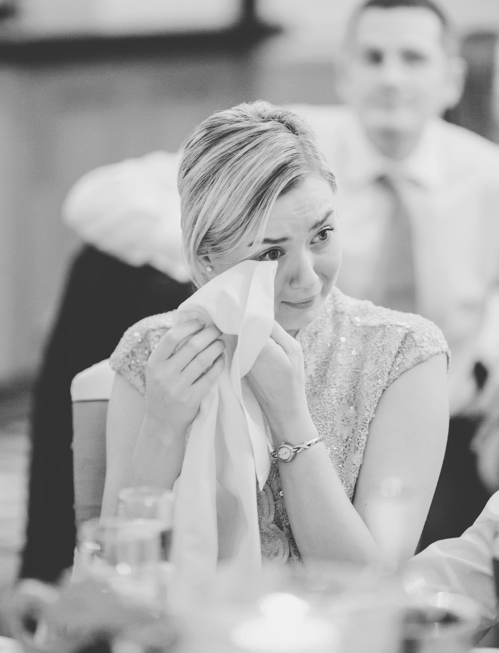 Tears from one of the wedding guests as the speeches are told-wedding in ribble valley