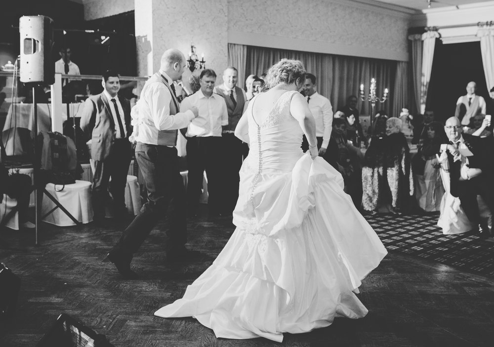 The bride and groom hitting the dance floor at Spread Eagle- Ribble valley wedding