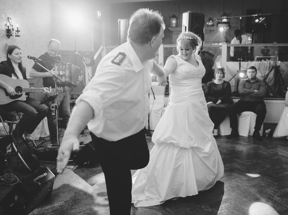 The bride and her father on the dance floor- Lancashire documentary style wedding photography