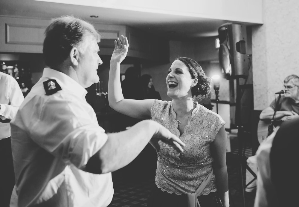 The father of the groom and some wedding guests dancing- Ribble Valley wedding