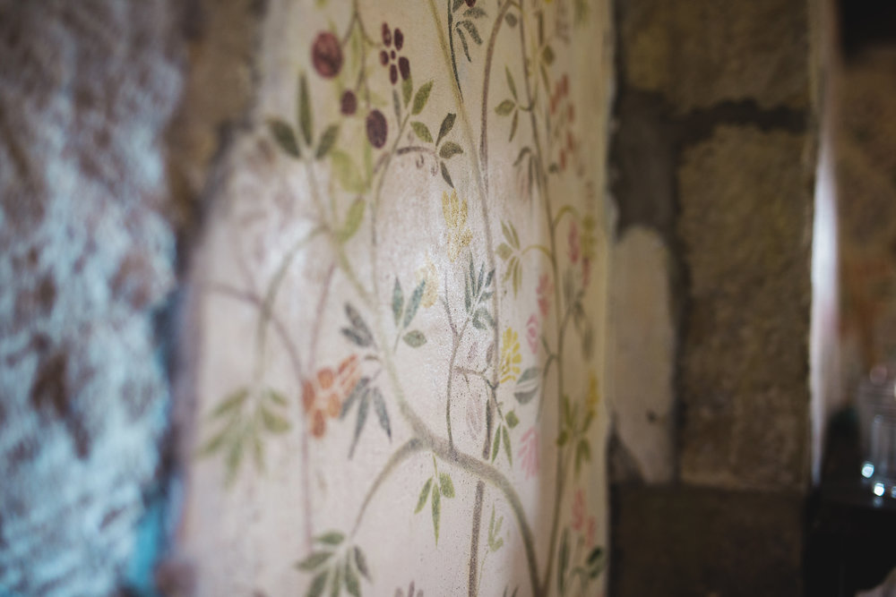 The vintage wall paper of the Houldsworth House, wedding venue of choice.
