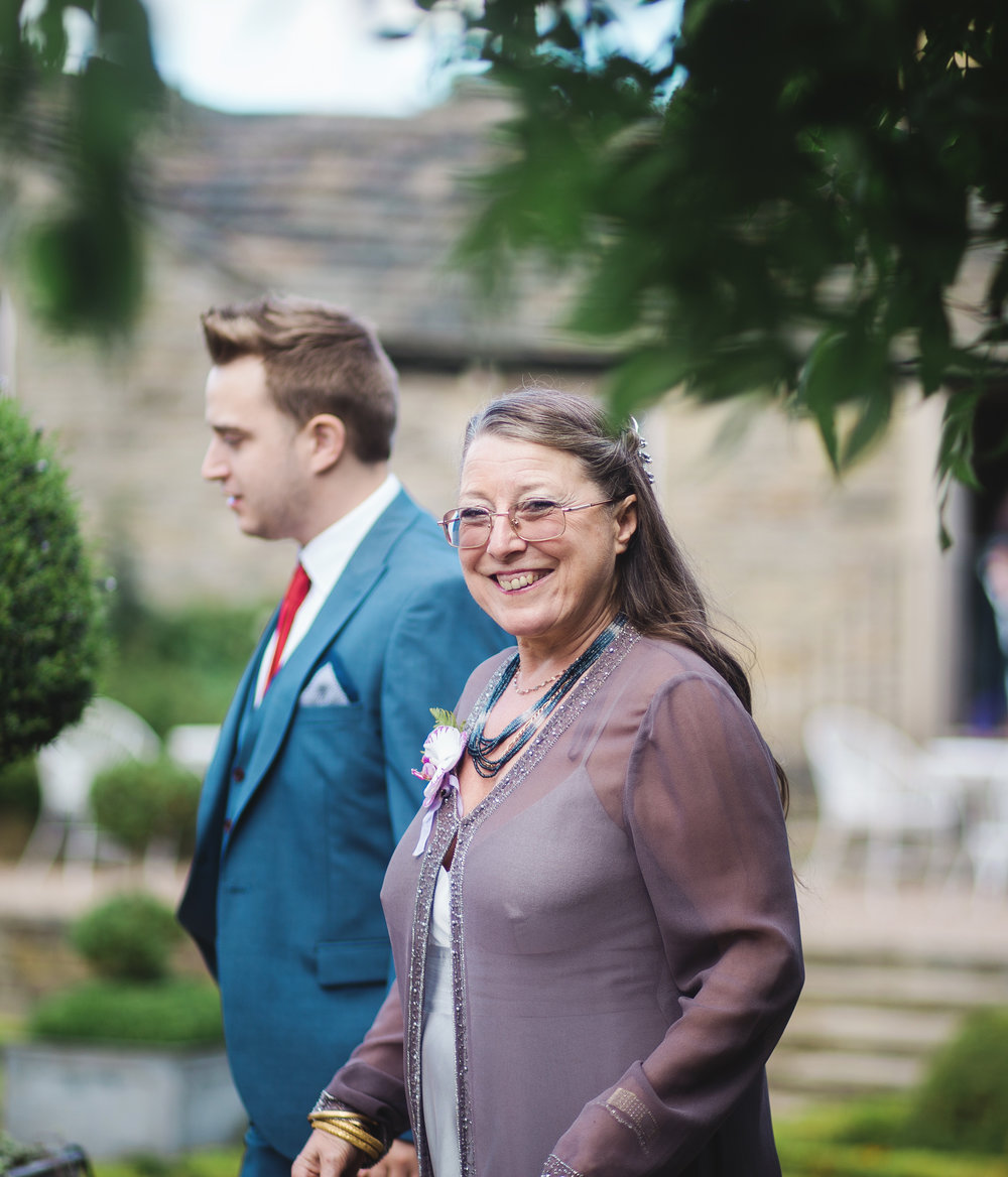 Some of the wedding guests arriving at Houldsworth House for a wedding- North west photography