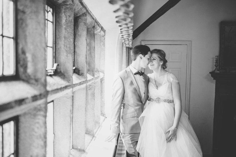 Inside of Houldsworth House the bride and groom, black and white photograph- North west wedding photography