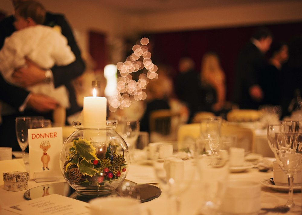 Winter themed table arrangements- Documentary styled wedding photography