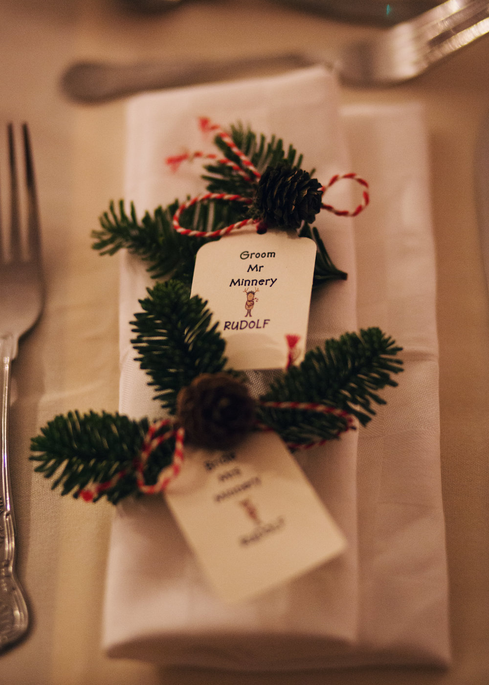 Winter themed wedding name cards- christmas themed wedding at Cheshire