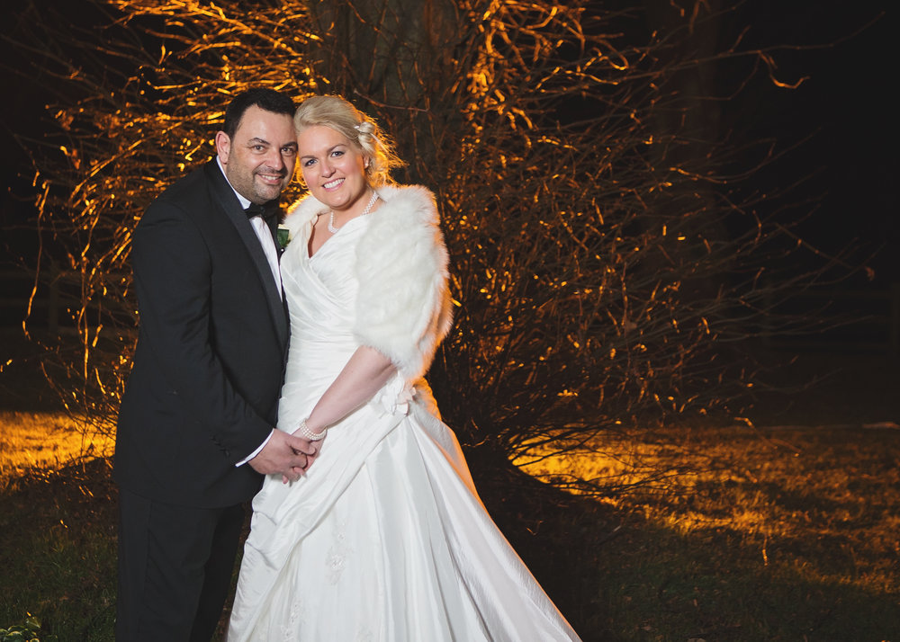 The bride and groom outside at night- Creative wedding photography