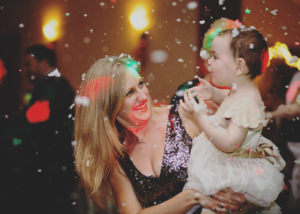 Inside snow machine for the winter themed wedding in Cheshire- Creative wedding photography
