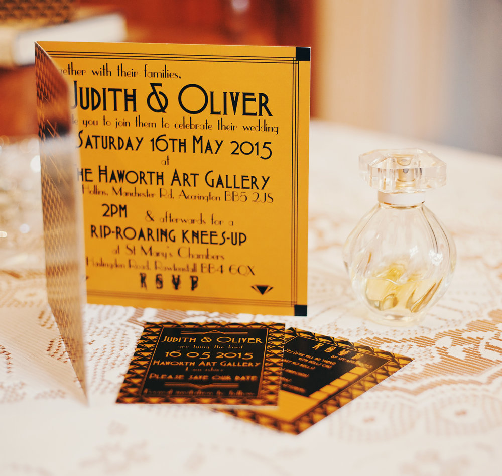 The inside of the 1920 themed wedding invitations