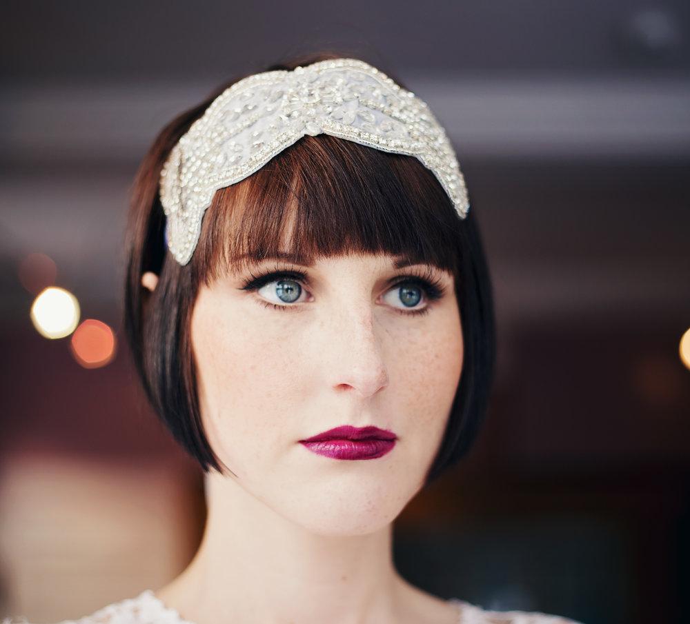 Headshot of the beautiful bride at Haworth Art Gallery- Lancashire wedding portraiture