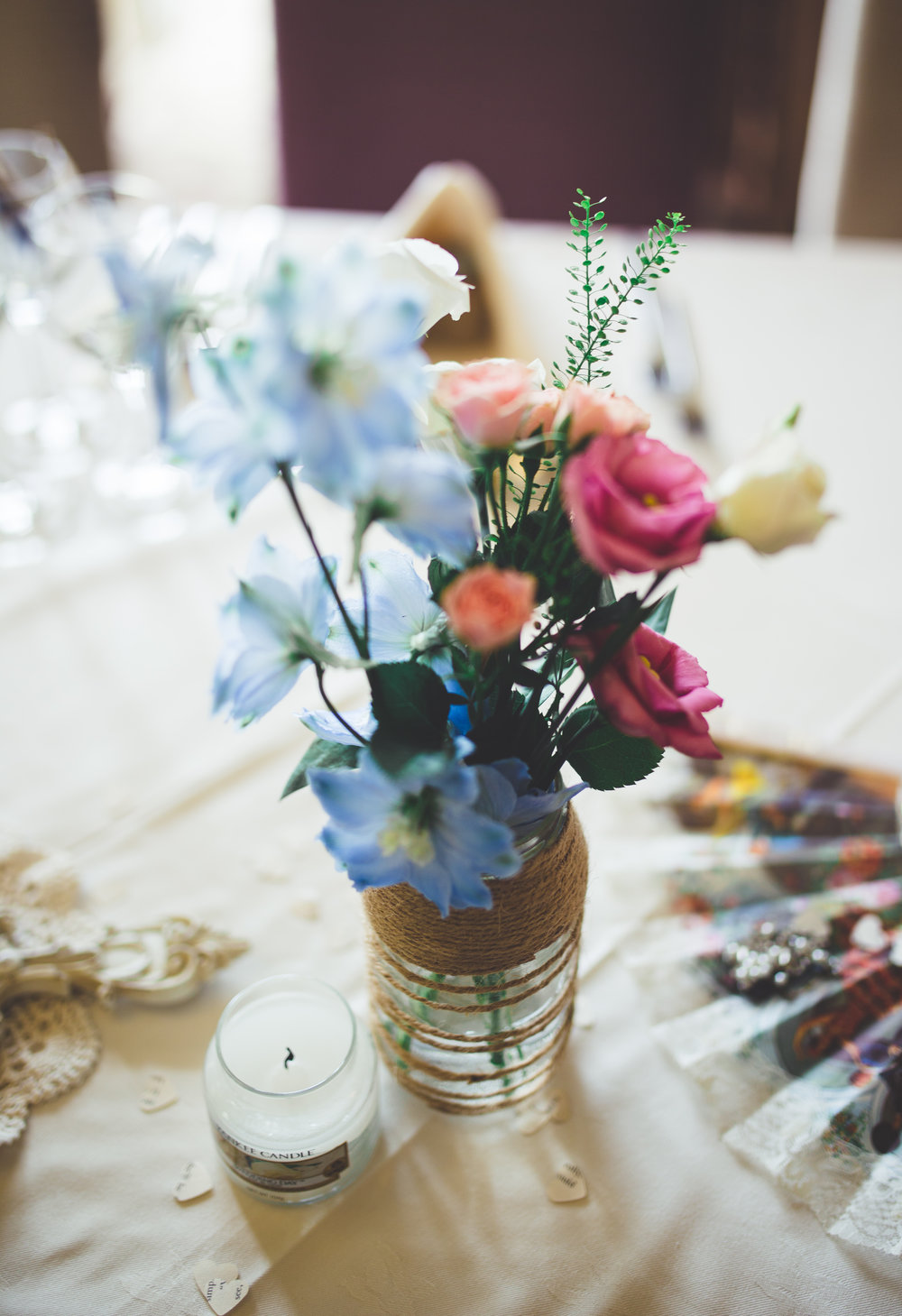 Table arrangements at the wedding venue of Inn on the Lake, lake district- Relaxed modern wedding photographer
