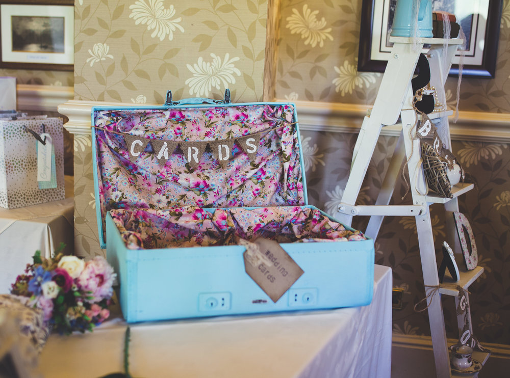 The card box at the lake district wedding, vintage style table arrangement- creative wedding photographer
