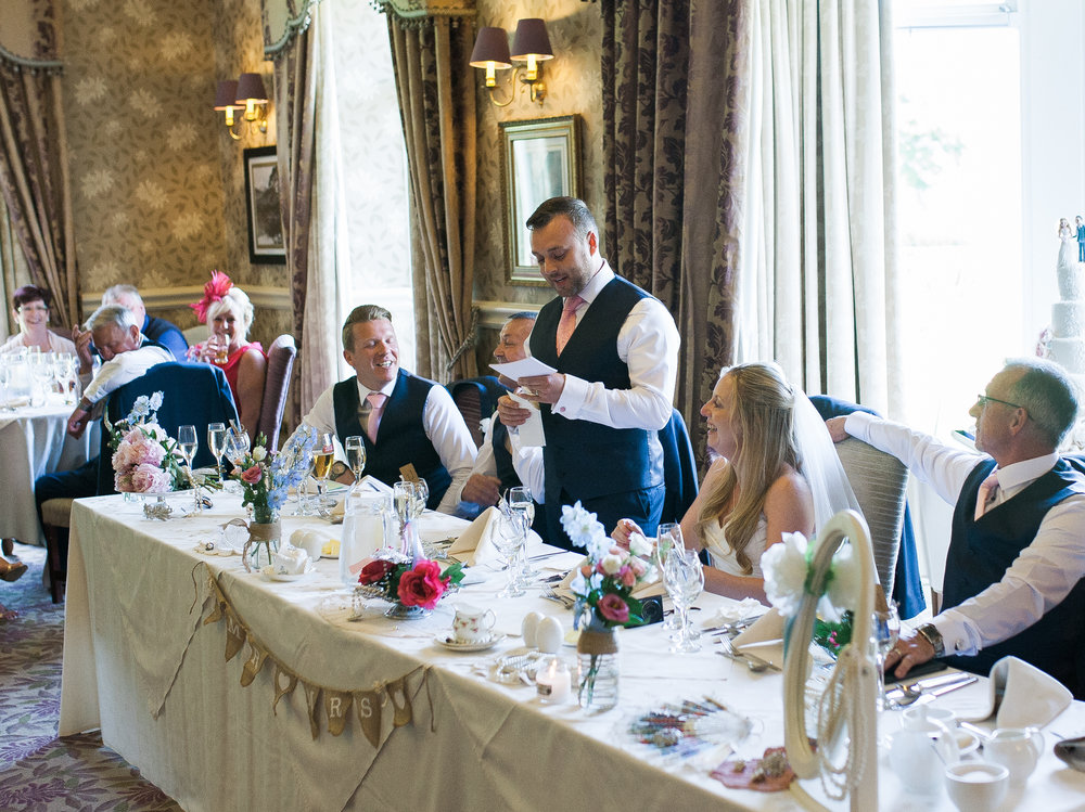 The wedding speeches time for the wedding at Inn on the Lake- Lancashire photographer